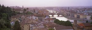 Panoramic view at dusk over Florence showing River