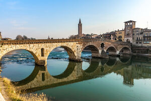 panoramic view ponte pietra bridge verona adige river