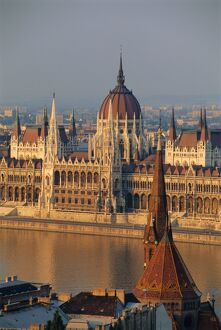 Parliament building and the Danube River from the Castle district