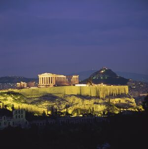 The Parthenon and the Acropolis at night