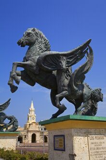 Pegasus statue and Clock Tower, Old Walled City District, Cartagena City