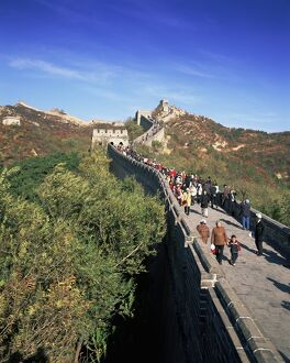 People on the Badaling section, the Great Wall of China, UNESCO World Heritage Site