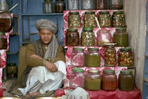 Portrait of a Pathan man at his stall selling pickles in Kabul, Afghanistan, Asia