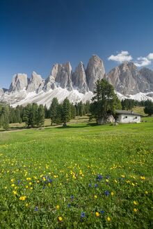 A postcard from the Dolomites, Puez-Odle National Park, South Tyrol, Italy, Europe