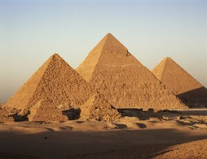 Pyramids at sunset, Giza, UNESCO World Heritage Site, near Cairo, Egypt