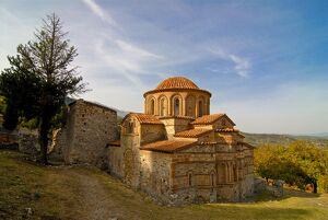 Rebuilt Orthodox church in Mystras, UNESCO World Heritage Site, Peloponnese