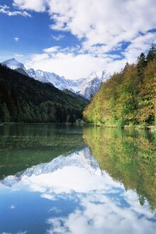 Reflections in Riessersee of Wetterstein Mountains