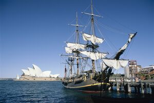 Replica of H.M.S. Bounty and Sydney Opera House, Sydney, New South Wales (N
