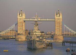 River Thames, Tower Bridge and HMS Belfast, London, England, UK, Europe