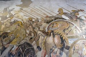 Roman mosaic, Battle between Alexander and Darius, from Pompeii House of the Faun