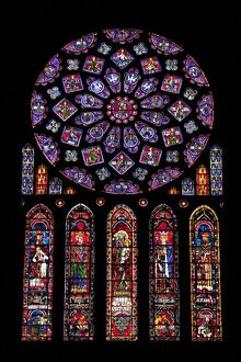 Rose window, Medieval stained glass windows in North Transept, Chartres Cathedral