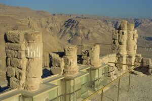 Ruined Winter Palace of King Herod on top of the fortress of Masada, UNESCO World Heritage Site