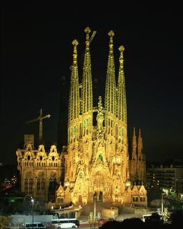 The Sagrada Familia, the Gaudi cathedral, illuminated at night in Barcelona