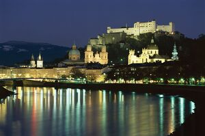 Salzach River and domes of Cathedral and Kollegenkirche, at night, Salzburg