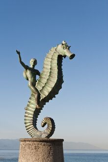 The Seahorse sculpture on the Malecon, Puerto Vallarta, Jalisco, Mexico, North America