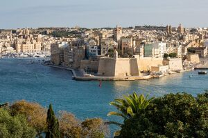 Senglea, one of the Three Cities, and the Grand Harbour in Valletta, UNESCO World