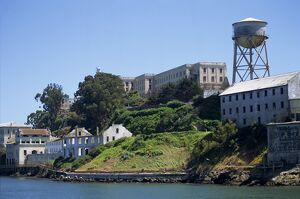 Shoreline and buildings on Alcatraz Island
