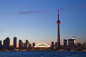 Skyline of downtown Toronto, CN Tower and Rogers Centre, Toronto, Ontario