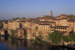 Skyline of houses and church of the town of Albi in the Tarn Region of Midi Pyrenees