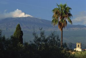 The snow capped Mount Etna