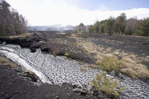 Snow, lava flow