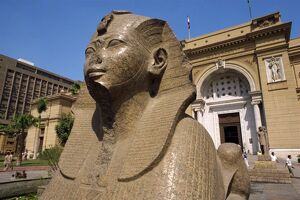Sphinx outside the Egyptian Museum, Cairo, Egypt, North Africa, Africa