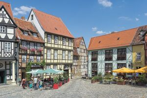 Square with half-timbered houses, Quedlinburg, UNESCO World Heritage Site, Harz, Saxony-Anhalt