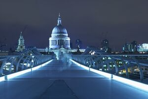 St Paul's Cathedral and the Millennium Bridge, London, England, United Kingdom