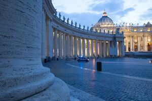 St. Peters and Piazza San Pietro at dusk, Vatican City, UNESCO World Heritage Site