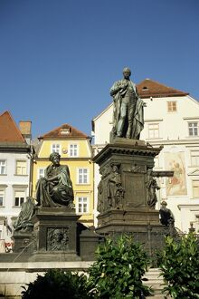 Statue of Archduke Johann, moderniser of Graz, and nymphs at base symbolising Styria's rivers