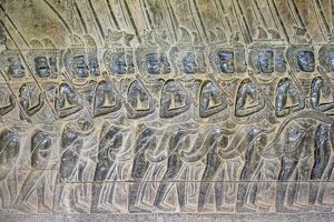 Stone carvings at Angkor Wat, UNESCO World Heritage Site, Siem Reap Province, Cambodia
