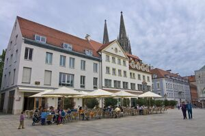 Street cafe on a Market Square, Regensburg, Bavaria, Germany, Europe