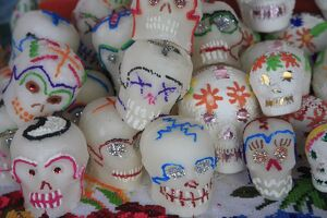 Sugar candy skulls, Day of the Dead, Patzcuaro, Michoacan state, Mexico, North America
