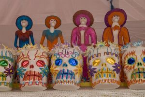 Sugar skull decorations for the Day of the Dead festival, San Miguel de Allende