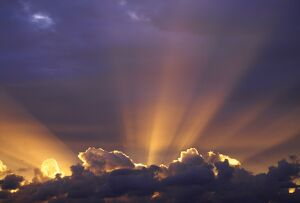 Sun beams through stormy sky, Sydney, New South Wales, Australia, Pacific