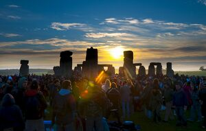 Sunrise at Summer Solstice celebrations, Stonehenge, UNESCO World Heritage Site