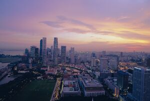 Sunset over the business district of Singapore