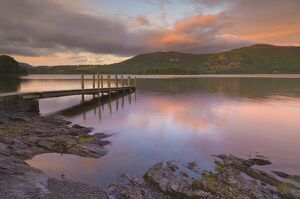 Sunset, Hawes End landing stage jetty, Derwent Water, Lake District, Cumbria