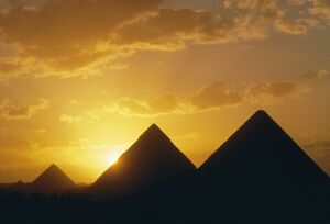 Sunset, the Pyramids, Giza, UNESCO World Heritage Site, Cairo, Egypt, North Africa