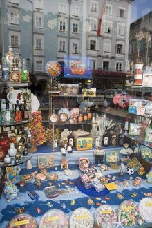 Sweets and souvenirs in shop window, Salzburg, Austria, Europe