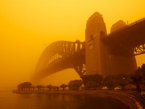 Sydney Harbour Bridge during red dust storm, Sydney, New South Wales, Australia, Pacific