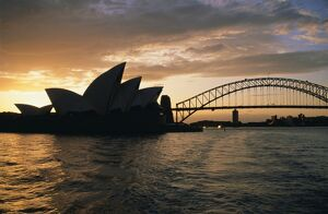 Sydney Opera House and Harbour Bridge in the evening, Sydney, New South Wales, Australia