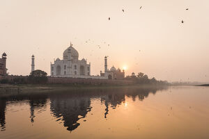 taken boat river yamuna taj mahal sunset unesco