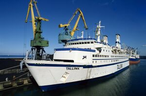 The Tallink Ferry moored in harbour, with cranes behind, Tallinn, Estonia
