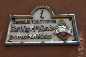 Tourist office sign, San Miguel, Guanajuato State, Mexico, North America
