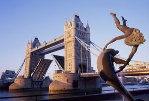 Tower Bridge and bank-side fountain sculpture, London, England, UK
