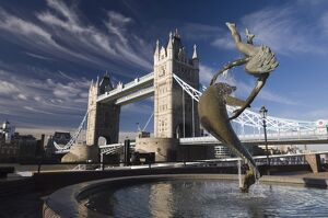 Tower Bridge and Girl with a Dolphin sculpture, London, England