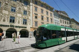 Trams run along Herrengasse, stop at Hauptplatz in main street of old town