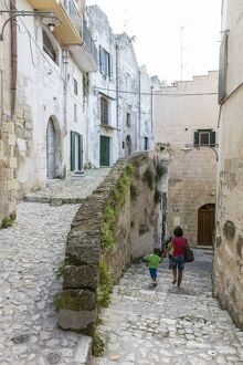 typical stone alleys old town center matera known