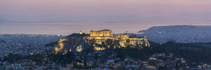 View over Athens and The Acropolis, UNESCO World Heritage Site, at sunset from Likavitos
